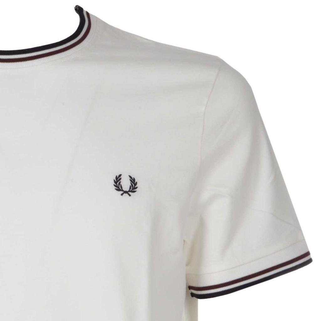 T-shirt con bande in contrasto su maniche e colletto 313SNOWWHITE