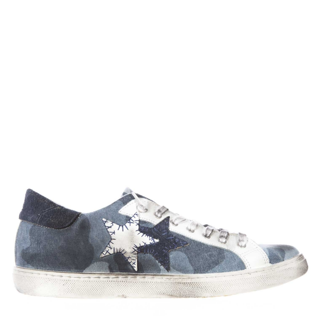 Sneakers with leather upper covered with camouflage blue camouflage canvas CAMOU / BLU