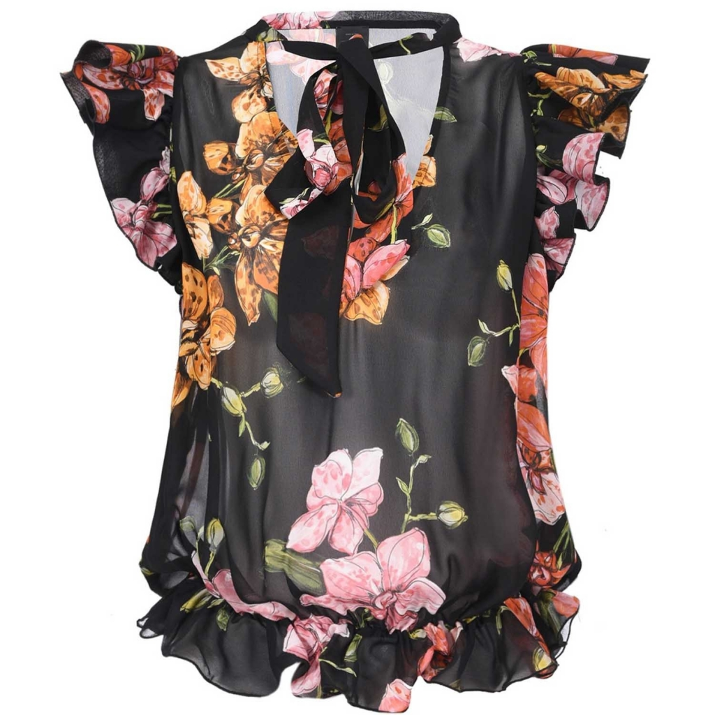 Black Babette blouse with floral print and ruffles ZN8MULTNERO /
