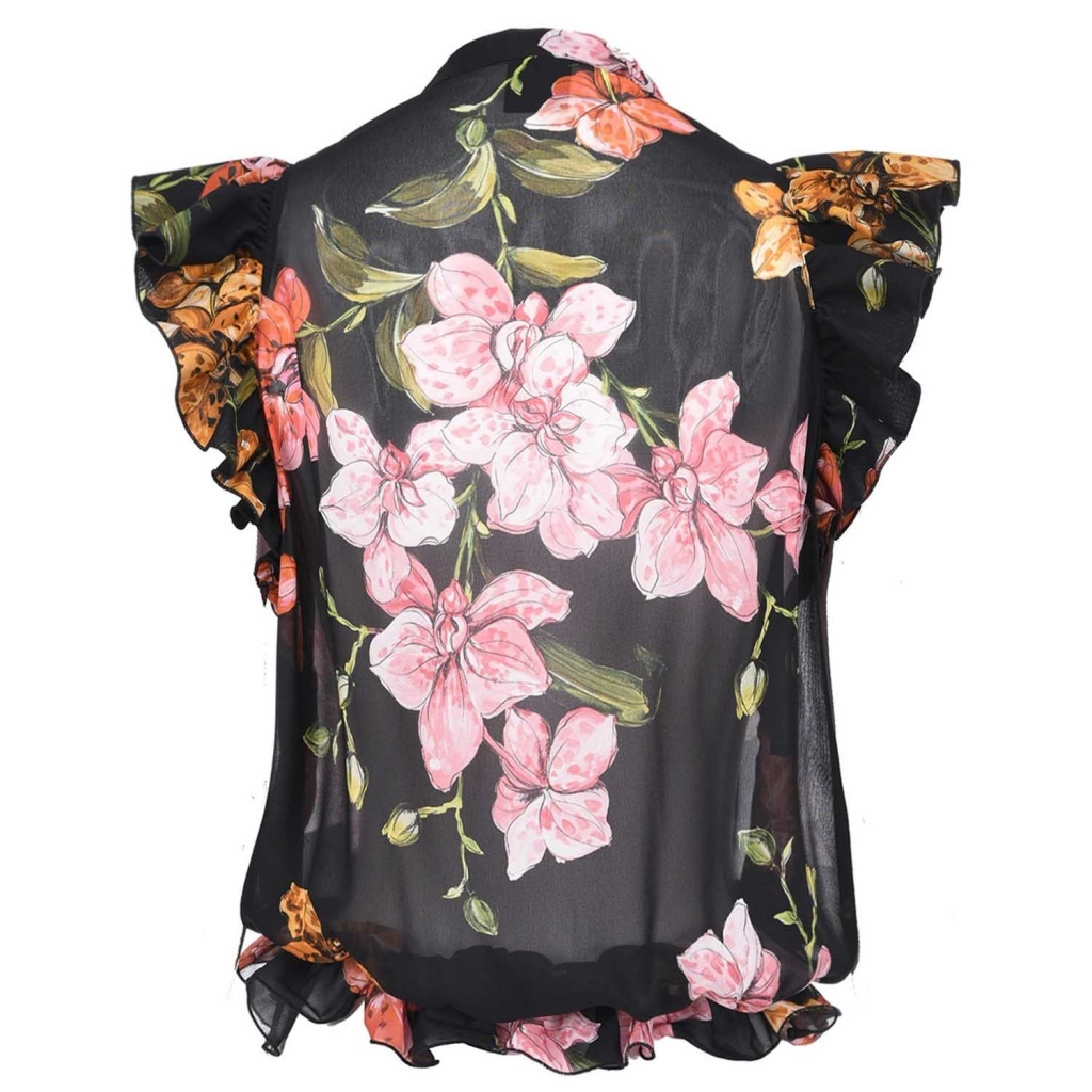 Schwarze Babette Bluse mit Blumendruck und Rüschen ZN8MULTNERO /