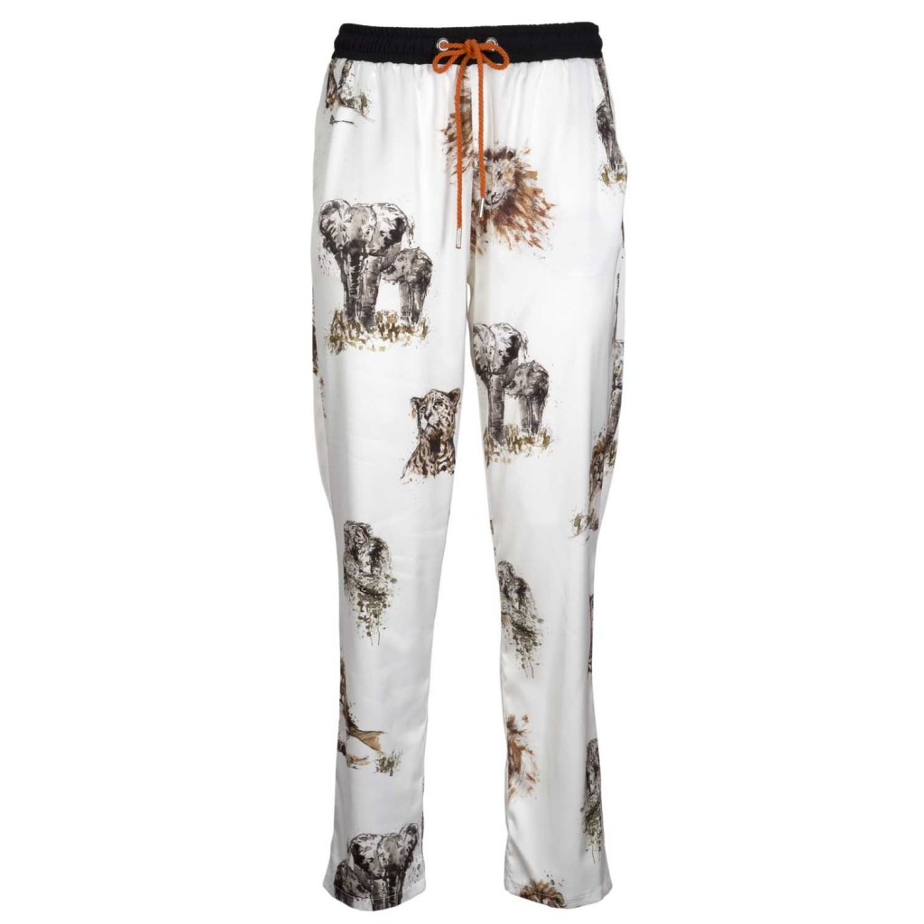 White Phebe trousers with ZC7MULTBIANC animal designs
