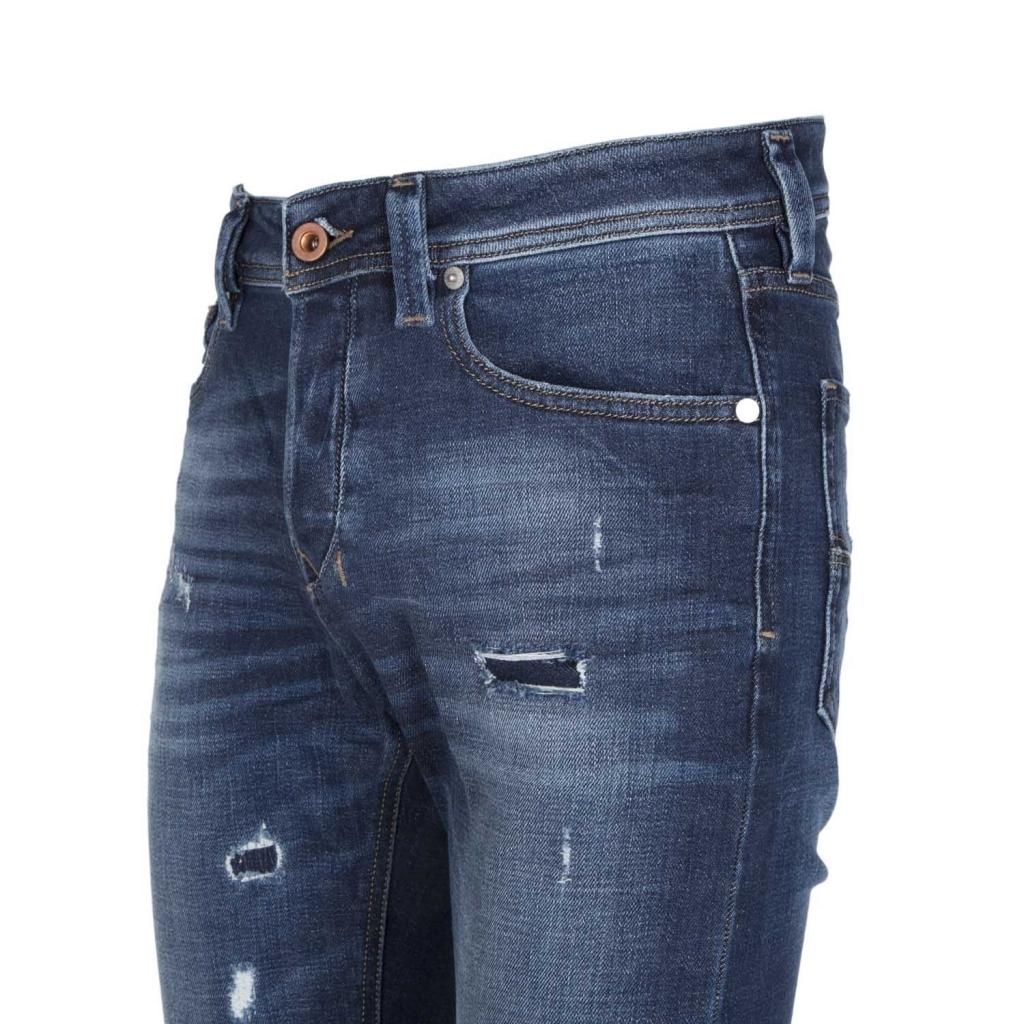 Larkee-Beex destroyed jeans in dark blue denim 01