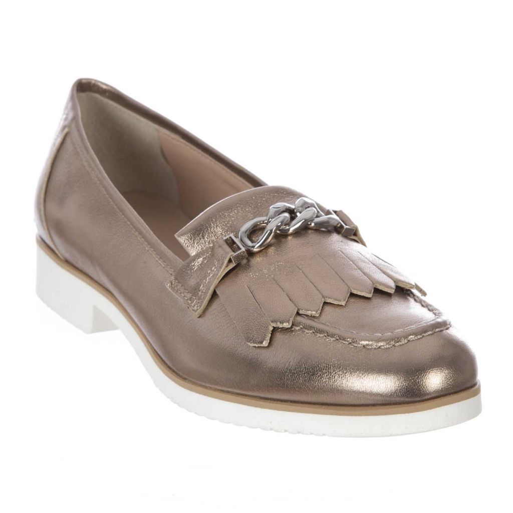 Moccasin in shiny leather with BRONZE chain