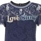 Abito in pizzo blu con ricamo Love Story F95BLUE