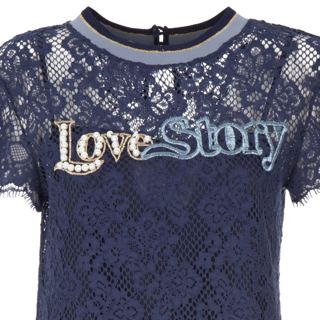 Blue lace dress with Love Story F95BLUE embroidery