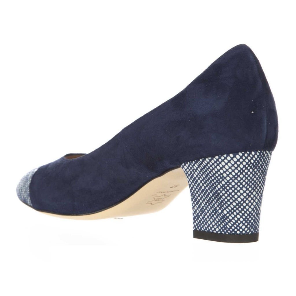 Dcollet in suede leather with 5 cm bicolor heel BLUE