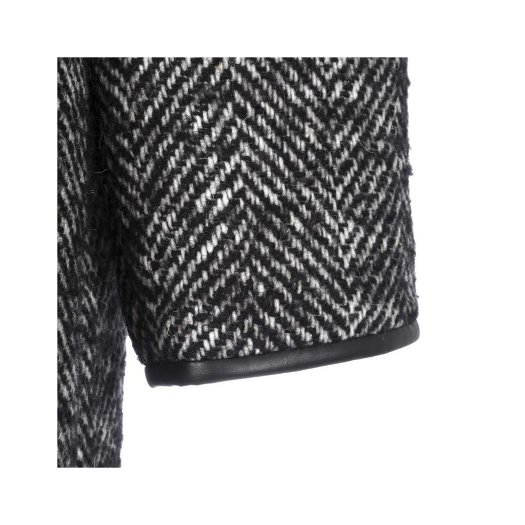 Schwarz-weißer Fischgratmantel mit Taillengürtel ZZ1BIANCO / NE