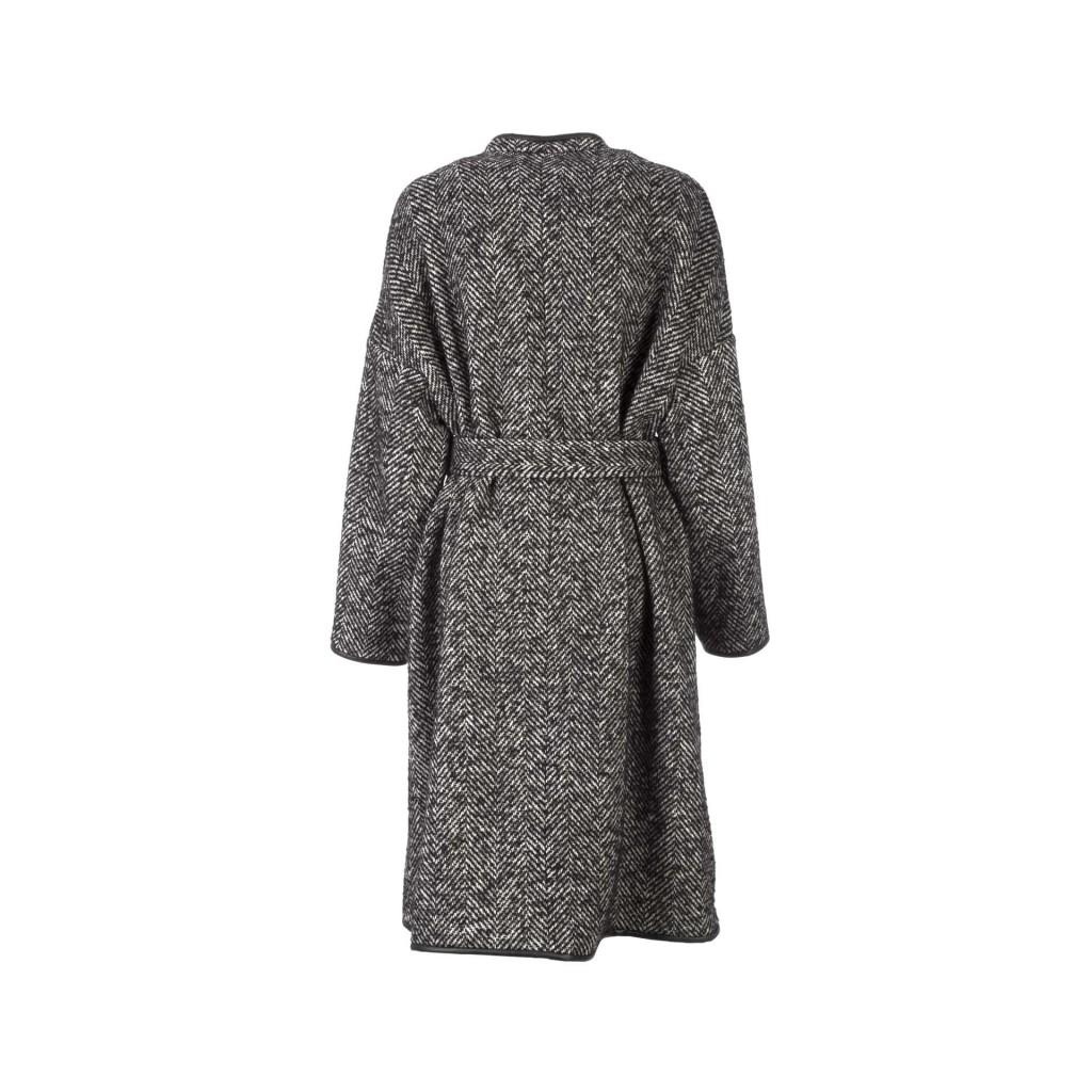 Black and white herringbone coat with waist belt ZZ1BIANCO / NE