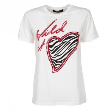 T-shirt in misto cotone con strass applicati 00059MADREPE