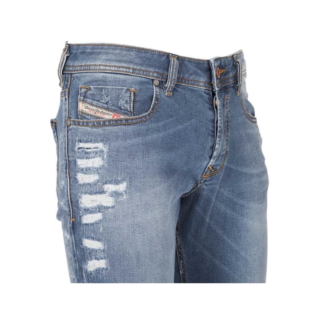 Slim Skinny Sleenker Jeans mit Abrieb 01