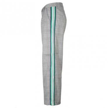 Pantalone grigio Saltillo in principe di Galles con bande verdi FANTASYUNIQU