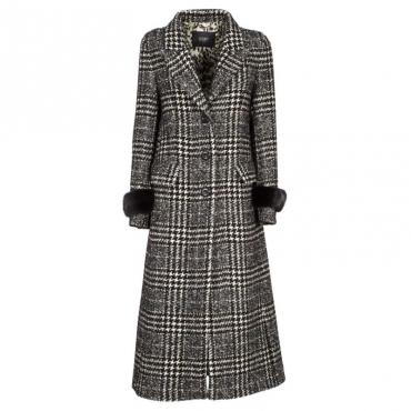 Cappotto lungo maxiquadro in lana e alpaca 245TMOROSCU