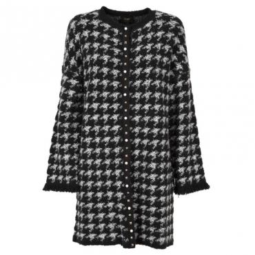 Cappotto lungo in maglia misto lana B3135NERO/WH