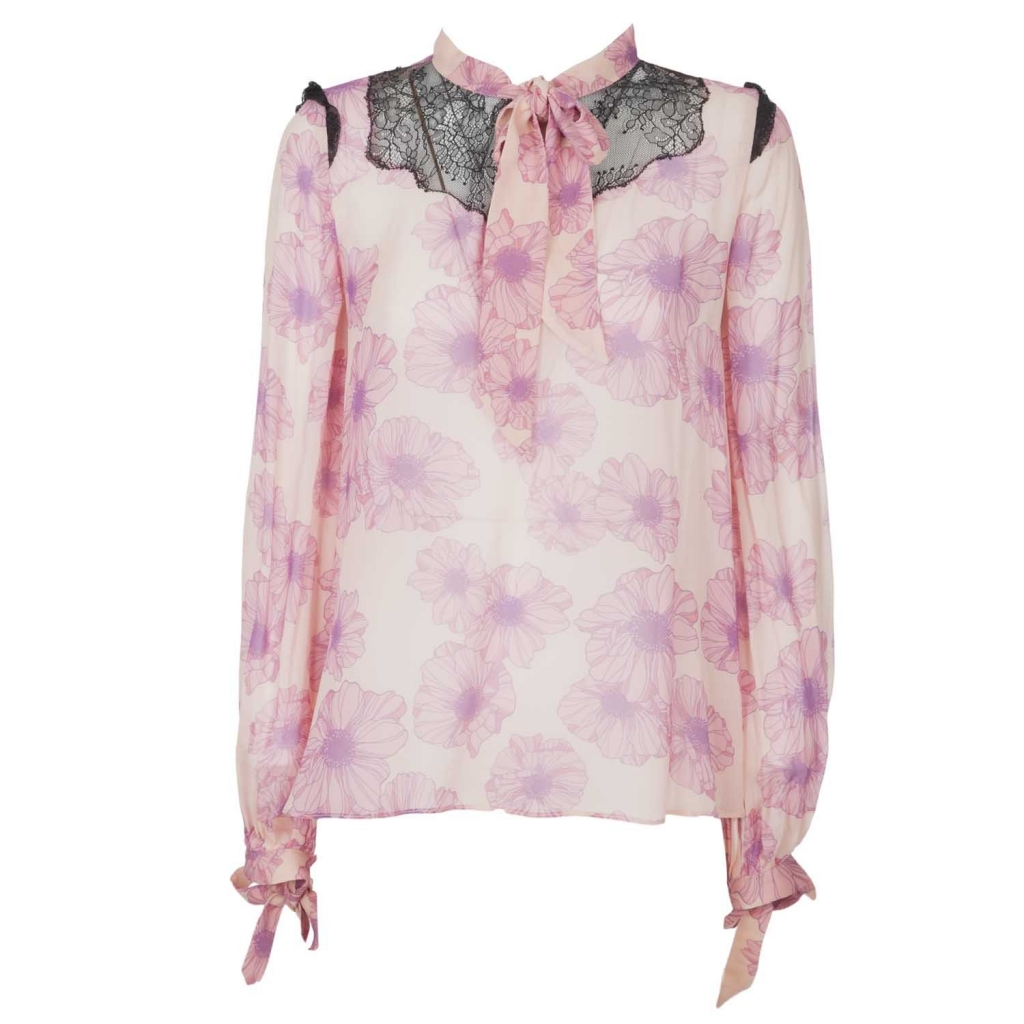 Pink Visitation shirt in georgette with NN7NUDOROSA flowers pattern