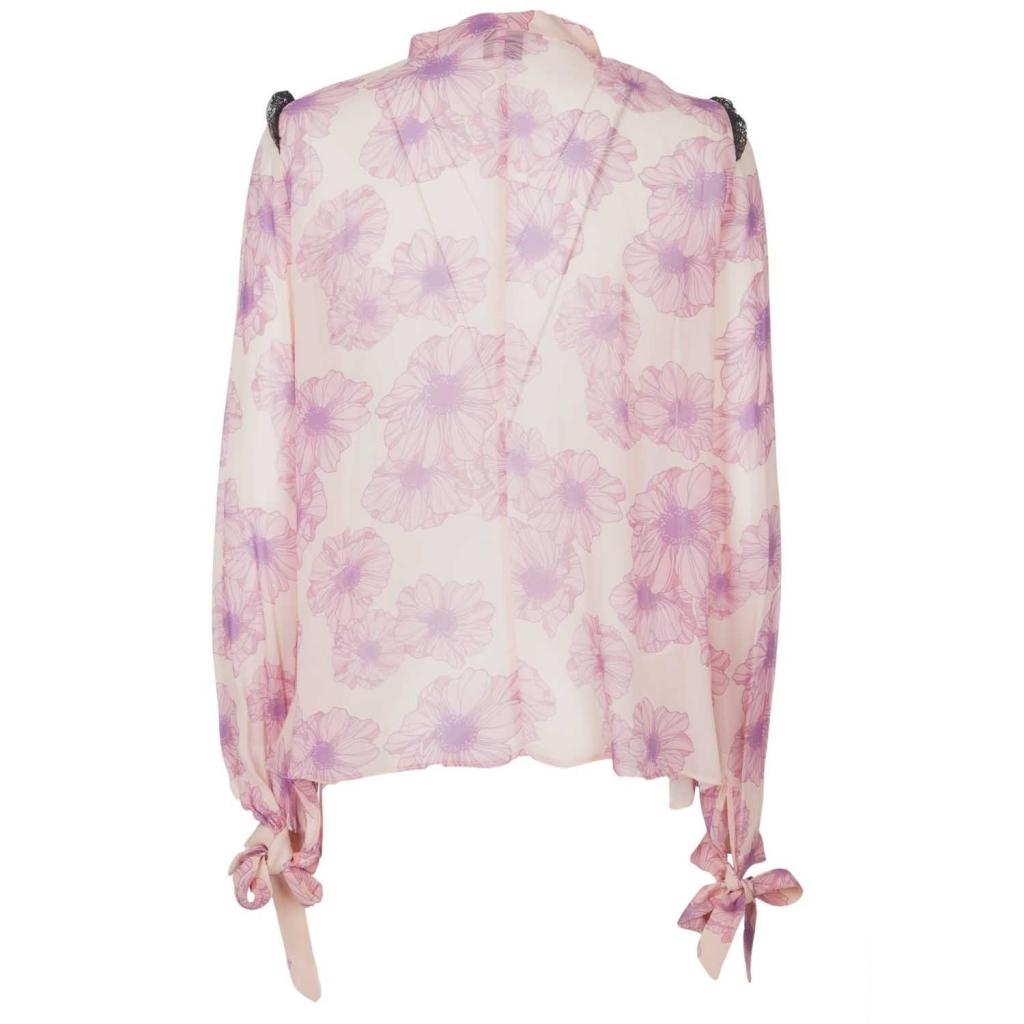 Camicia Visitation rosa in georgette con fantasia fiori  NN7NUDOROSA