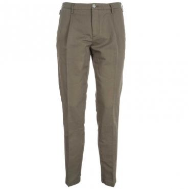 Pantaloni classici in misto lino slim fit 5391VERDE