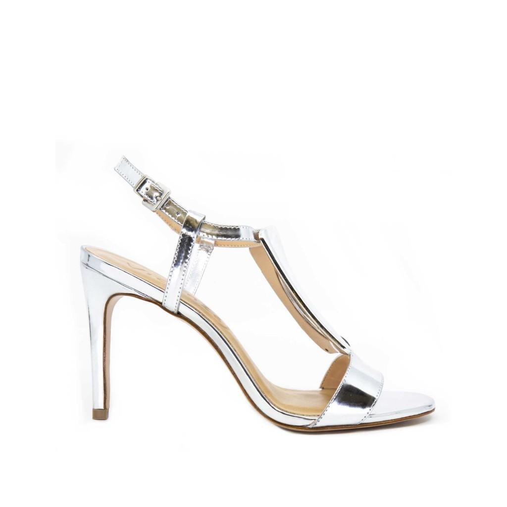 Sandalo argentato con chiusura laterale SPECCHIOPRAT