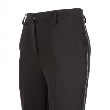 Pantalone a gamba dritta con fascia laterale argento NERO