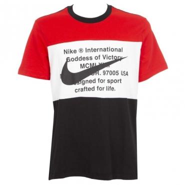 T-shirt tricolore con logo e scritte 010BLACK/UNI