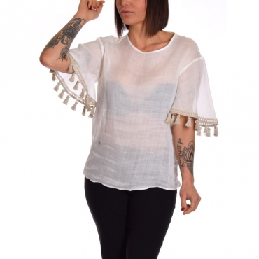 T-shirt lino con nappe BIANCO