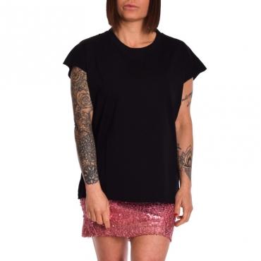 T-shirt girocollo in cotone NERO
