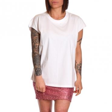T-shirt girocollo in cotone BIANCO