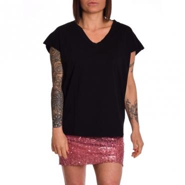 T-shirt scollo v in cotone NERO