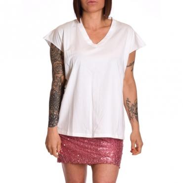 T-shirt scollo v in cotone BIANCO