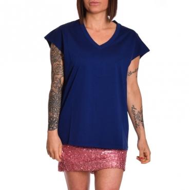T-shirt scollo v in cotone INDACO