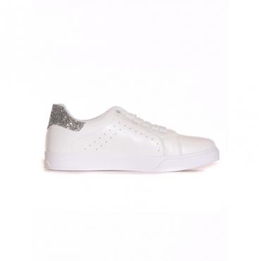 Sneaker retro glitter BIANCO/ARGENTO