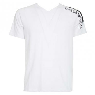 T-Shirt bianca con logo sulla spalla 1100