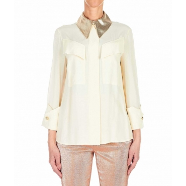 Blusa con colletto glitterato oro