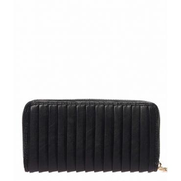Portafoglio con pieghe plissettate nero
