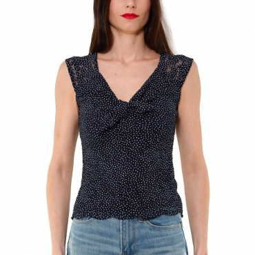 TOP IN PIZZO STAMPA POIS BLU