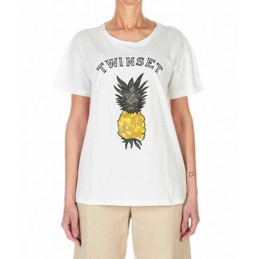 T-shirt con logo bianco