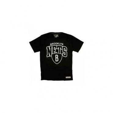 MAGLIETTA MITCHELL  NESS T-SHIRT NBA BROOKLYN NETS TEAM ARCH Black unico