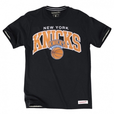 MAGLIETTA MITCHELL  NESS T-SHIRT NBA NEW YORK KNICKS TEAM ARCH Black unico
