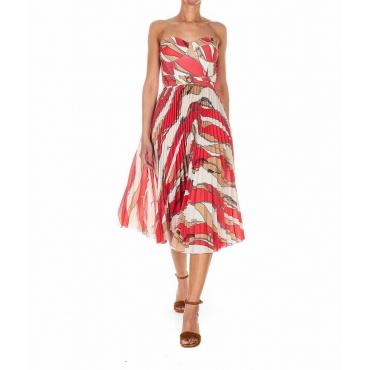 Vestito con stampa plissettato rosso