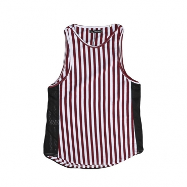 CANOTTA MINIMARKET TANK TOP MICA26 White/Red Stripes/BlackMesh unico