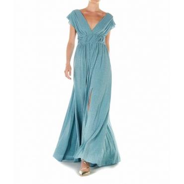 Vestito maxi con finitura in glitter azzurro