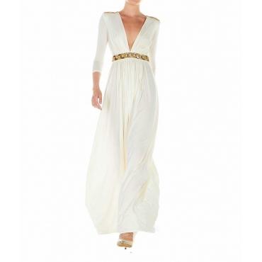 Vestito maxi con dettagli pailettes bianco