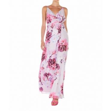 Vestito a portafoglio con stampa floreale rosa