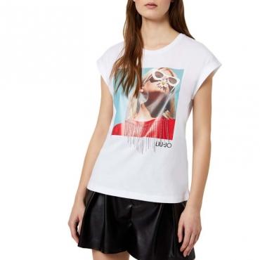 T-Shirt bianca con frange gioiello 11111BIANCOO
