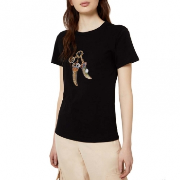 T-Shirt classica in cotone con applicazioni T9047SERIECO