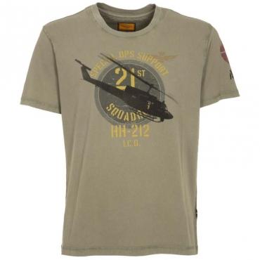 T-Shirt in cotone con stampa militare 7226