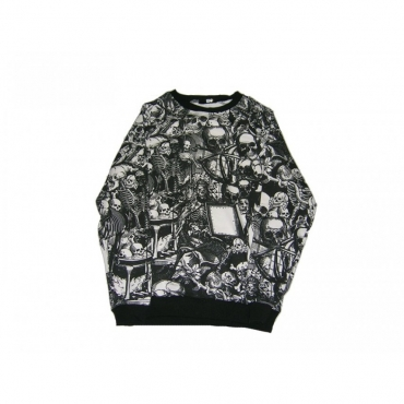 FELPA GIROCOLLO MINIMARKET SWEATSHIRT CREWNECK TESCHIO NERO Black All Over unico
