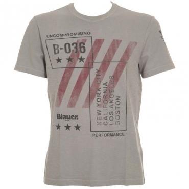 T-Shirt in cotone grigia con stampa 934GRIGIOPIC
