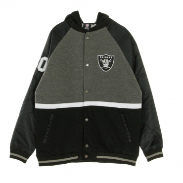 NFL GIUBBOTTO COLLEGE HOODED MIXED FABRIC VARSITY JACKET OAKRAI BLACK/DARK GREY HEATHER/WHITE