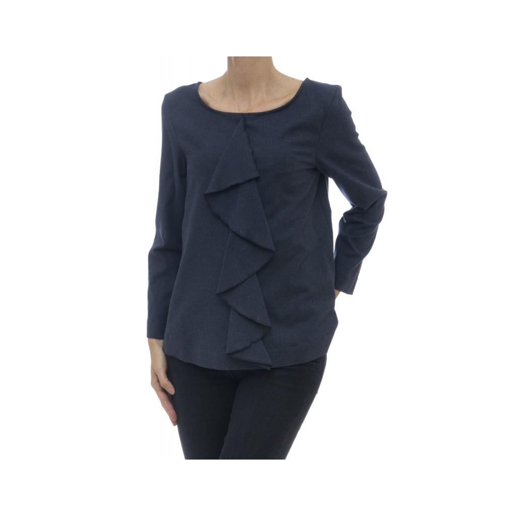 Frau Shirt - Mein rouge 002 95131 Flanellhemd - Blau