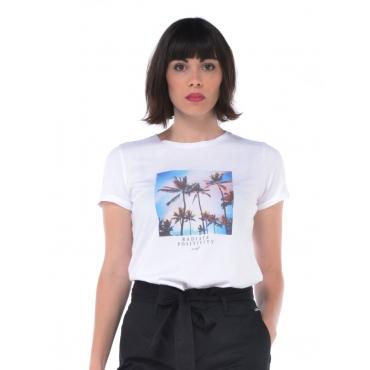 Sun68 T Shirt Manica Corta Donna Bianco